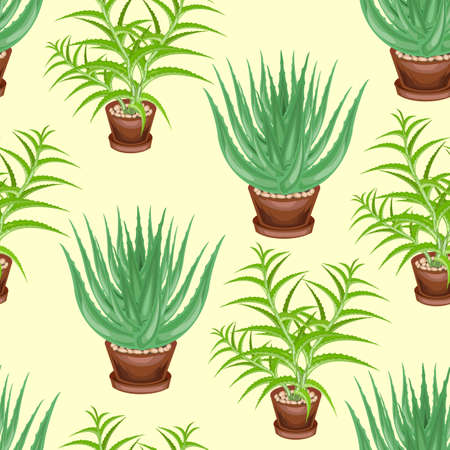 Aloe tree and aloe vera in pots on a green background. Seamless pattern. Suitable for wallpaper and as a background for gift wrapping. Creates a cheerful mood. Vector illustration. Ilustrace