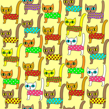 Seamless pattern. Bright cute kittens. Suitable as wallpaper in the childrens room, as a gift wrapping for children and adults. Creates a festive mood. Vector illustration.