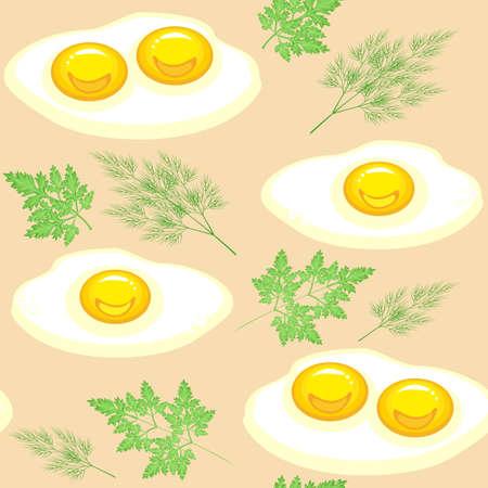 Modello senza soluzione di continuità. Appetitose uova strapazzate con prezzemolo e aneto su fondo beige. Adatto come carta da parati in cucina, per confezionare alimenti, regali. Illustrazione vettoriale.