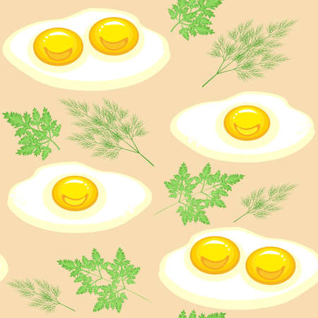 Seamless pattern. Appetizing scrambled eggs with parsley and dill on a beige background. Suitable as wallpaper in the kitchen, for packing food, gifts. Vector illustration.