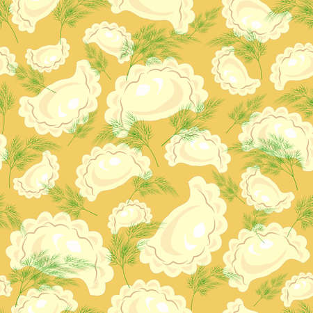 Seamless pattern. Fresh delicious ravioli, dumplings with greens, dill. Suitable as wallpaper in the kitchen, for example, for packaging products. Vector illustration. Ilustrace