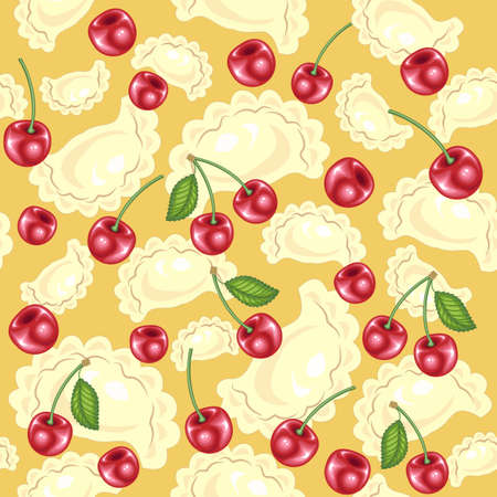 Seamless pattern. Fresh delicious dumplings, vareniki. Juicy red berries, cherries. Suitable as wallpaper in the kitchen, for packaging products. Vector illustration. Ilustrace