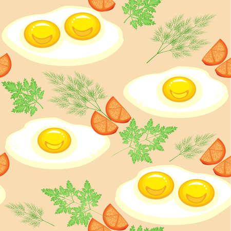 Modello senza soluzione di continuità. Appetitose uova strapazzate con pomodori, aneto e prezzemolo. Cibo delizioso e veloce. Adatto come carta da parati in cucina, per confezionare alimenti, regali. Illustrazione vettoriale.