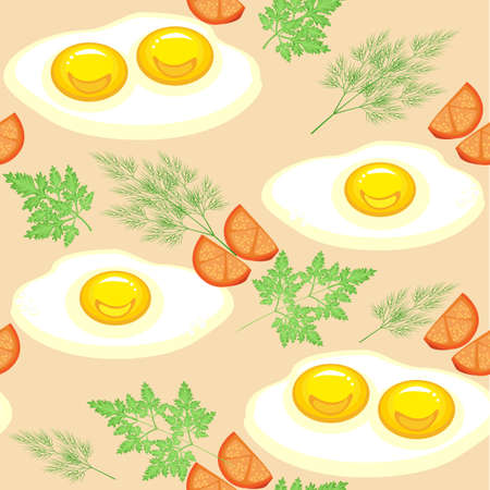 Seamless pattern. Appetizing scrambled eggs with tomatoes, dill and parsley. Delicious and fast food. Suitable as wallpaper in the kitchen, for packing food, gifts. Vector illustration.