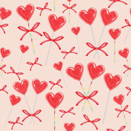 Seamless pattern. Red candy in the shape of heart bandaged with ribbon. Valentines gift for St. Valentines Day. Vector illustration. Ilustrace