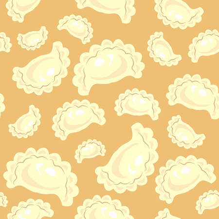 Seamless pattern. Fresh delicious dumplings, varenyki. Suitable as wallpaper in the kitchen, for example, for packaging products. Vector illustration.