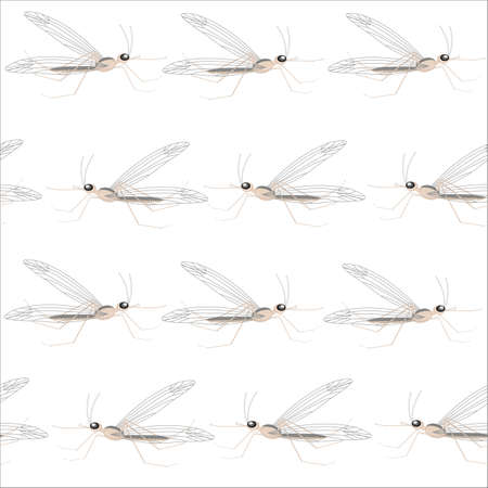 A fancy pattern. Mosquitoes flying in rows. Suitable as the original packaging, wallpaper, background, texture. Mosquito painfully bites a man. Vector illustration.