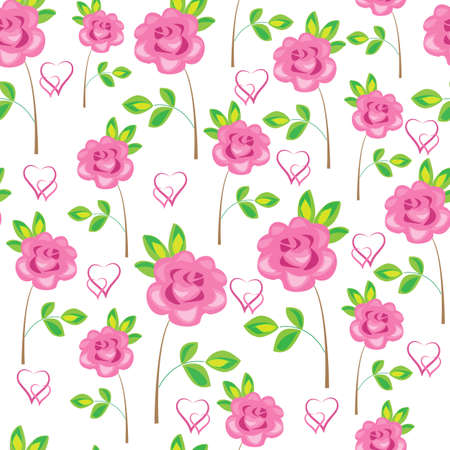 Seamless pattern. Pink flowers, roses and hearts. Suitable as wallpaper, as a gift wrapping for Valentines Day. Creates a festive mood. Vector illustration.