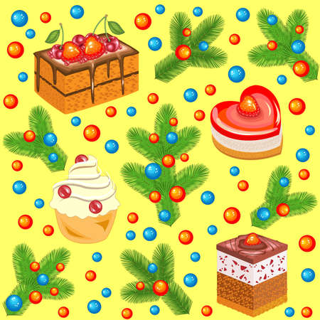 Christmas tree branches decorated with bright balls and sweet cakes. Seamless pattern. Suitable for packing holiday gifts. Creates a cheerful mood. Vector illustration.