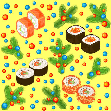 New Year seamless pattern. Sushi, rolls and branches of the Christmas tree, decorated with bright balls. Suitable for packing holiday gifts. Vector illustration. Ilustrace