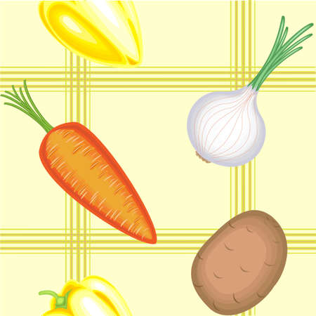 A fancy pattern. Ripe beautiful vegetables on a light background. Suitable as wallpaper in the kitchen, as a background for packaging products. Vector illustration. Ilustrace
