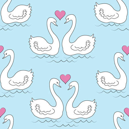 Seamless pattern. Two white swans. The birds in love swim in the water. The sun in the shape of the heart. Romantic love. For gift wrapping on Valentines Day, for the wedding. Vector illustration.