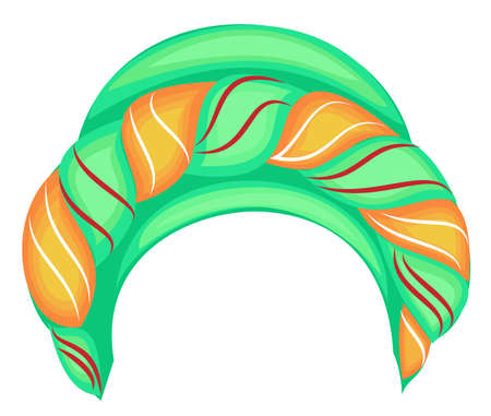 Female headpiece for woman, turban. Bright knitted green scarf. National beautiful and stylish clothes. Vector illustration.