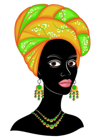 The head of a nice lady. On the head of an African American girl is tied a bright handkerchief, a turban. The woman is beautiful and stylish. Vector illustration.