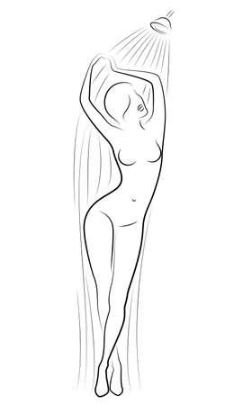 Silhouet van een schattige jonge dame. Het meisje wast onder de douche. De vrouw heeft een slank mooi figuur. Vector illustratie. Vector Illustratie