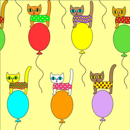 Beautiful creative textiles. Picture of the original kittens on balloons. Wallpaper for the children s room, pretty pattern. Vector illustration.