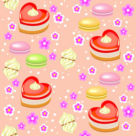 Seamless pattern. Holiday cakes in the form of heart, strawberry, marshmallows and flowers. Suitable as a gift wrapping for Valentine s Day. Creates a festive mood. Vector illustration.