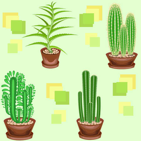 Cacti in pots on a green background. A fancy pattern. Suitable as wallpaper on, as a background for packaging products. Creates a cheerful mood. Vector illustration. Illustration