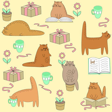 Beautiful creative textiles. Cute cat reads, sleeps, sits, drinks. Wallpaper for a children s room with a pet, beautiful patterns. Vector illustration.