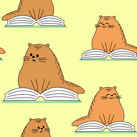 Beautiful creative textiles. Image of original kittens. A pet is reading a book and smiling. Wallpaper and background for a beautiful children s room. Vector illustration. Standard-Bild - 122606480