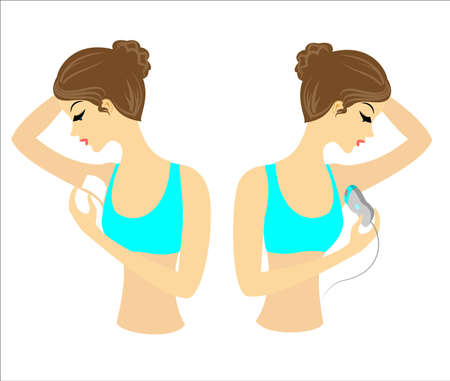 Profile of two girls. The ladies do the depilation of the underarms themselves. Remove the hair with a gel, wax and epilatory. Vector illustration. Vector Illustration