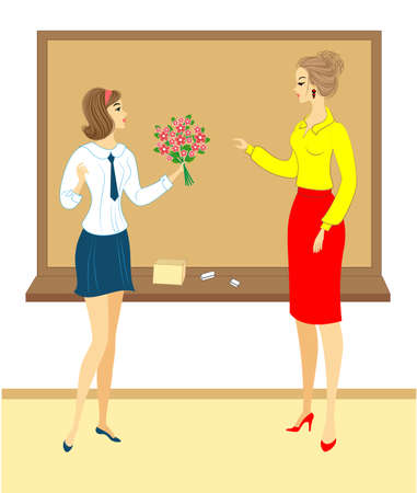 Young schoolgirl with flowers. The girl gives a bouquet to the teacher in school, in the classroom, near the board. The woman is beautiful and young. Vector illustration.