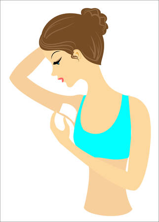 Profile of a beautiful lady. The girl makes wax depilation of the armpits independently. Removes excess hair. Vector illustration. Stock Illustratie