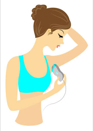 Profile of a beautiful lady. The girl makes depilation of the armpits with the epilator alone. Vector illustration.