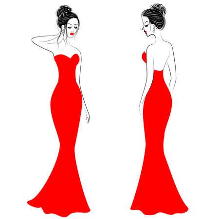 Silhouettes de jolies dames en robes de fête rouges. Les filles affichent un style à fusionner devant et derrière. Les modèles sont élancés et féminins. Illustration vectorielle. Vecteurs