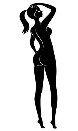 Silhouette d'une douce dame debout. La fille a une belle silhouette mince. Illustration vectorielle. Vecteurs