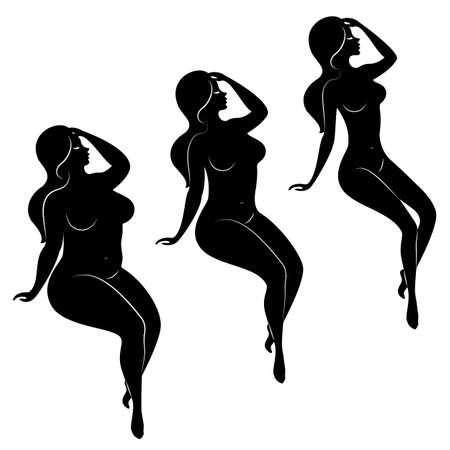 Collezione. Siluetta di una bella figura di donna. La ragazza è magra, snella e la donna è grassa. La signora è in piedi. Serie di illustrazioni vettoriali.