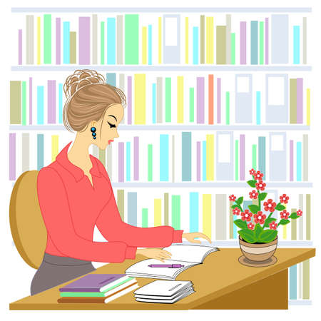 Profile of a beautiful young lady. The girl is sitting at the table in the library. A woman works as a librarian. Vector illustration. Ilustração