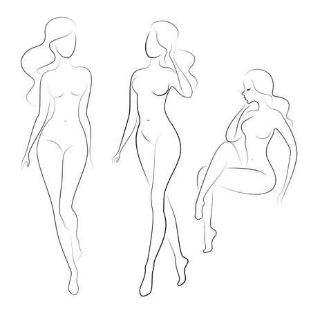 Verzameling. Silhouet van een lieve dame, ze zit en staat. Het meisje heeft een mooi figuur. Een vrouw is een jong en slank model. Set van vectorillustraties.