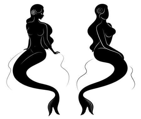 Verzameling. Silhouet van een zeemeermin. Meisjes baden in een mooie pose. De dame is jong en slank. Fantastische afbeelding van een sprookje. Set van vectorillustraties. Vector Illustratie