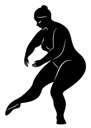 Silhouette of a cute lady, she is dancing ballet. A woman is overweight. The girl is full. Woman ballerina, gymnast. Makes a curtsy. Vector illustration.