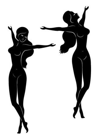Verzameling. Silhouet van een lieve dame. Het meisje is blij, stak haar handen op. De vrouw is en slank. Vector illustratie instellen.
