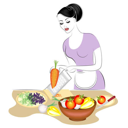 Profile of a beautiful lady. The girl is preparing food. She sets the table, rubs carrots on a plate, cuts vegetables, greens. A woman is a good housewife. Vector illustration.