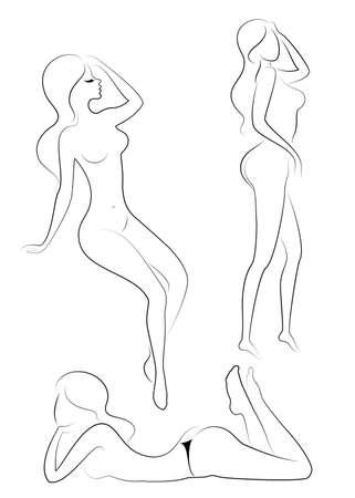 Sammlung. Silhouette einer süßen Dame, sie sitzt. Das Mädchen hat eine schöne Figur. Eine Frau ist ein junges und schlankes Model. Vektor-Illustration-Set.