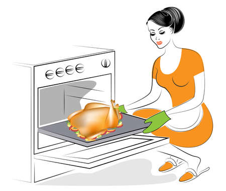 The woman is baking in the oven a stuffed turkey. A traditional dish on the festive table. Cranberry sauce, a garnish of apples, potatoes, greens. Thanksgiving Day. Vector illustration. Illustration