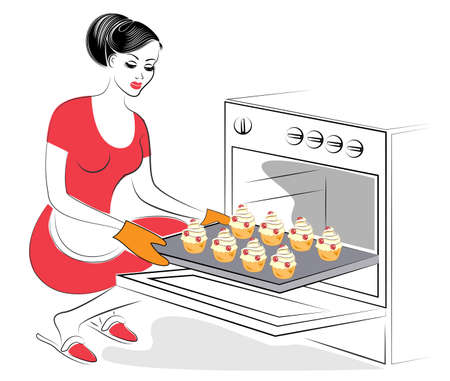 Profile of a beautiful lady. The girl is preparing food. Bake in the oven festive cookies, muffins with meringues and berries. A woman is a good housewife. Vector illustration.