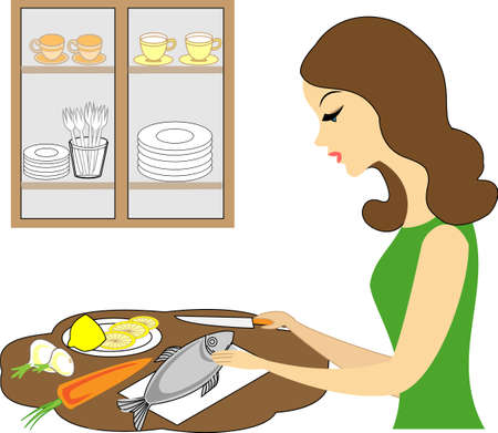Profile of a beautiful woman. The girl prepares food, cleans fish. A woman is a good wife and a neat housewife, a maid. Vector illustration.