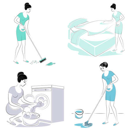 Collection. Sweet lady. The girl makes a bed in the room, sweeping, washing the floor, washing clothes in a typewriter. A woman is a good wife and a neat housewife. Vector illustration. Banque d'images - 122606534