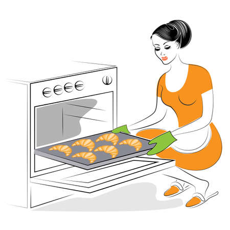 Profile of a beautiful lady. The girl is preparing food. Bake in the oven festive cookies, French croissants. A woman is a good housewife. Vector illustration.