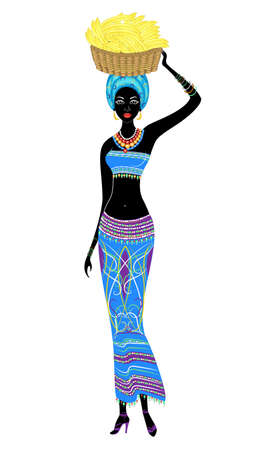 Slender beautiful African-American lady. The girl carries a basket with bananas on her head. Vector illustration.