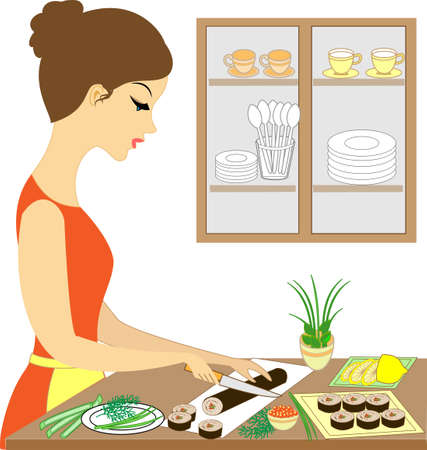 Profile of a beautiful lady. Cute girl cooks sushi, makes rolls. She is a skilled hostess. Vector illustration. Illustration