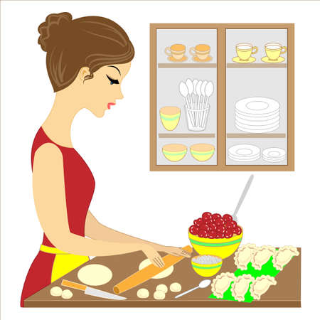 Profil pięknej pani. Dziewczyna przygotowuje pyszny posiłek dla rodziny. Robi placki vareniki z wiśniami. Ostrożna gospodyni i żona, świetna kucharka. Ilustracja wektorowa.