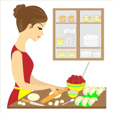 Profilo di una bella signora. La ragazza sta preparando un pasto delizioso per la famiglia. Fa le torte Vareniki con le ciliegie. Un'attenta padrona di casa e moglie, una brava cuoca. Illustrazione vettoriale.