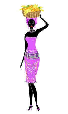 Slender beautiful African-American lady. The girl carries a basket on her head with bananas, oranges, persimmons. Vector illustration.