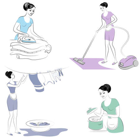 Collection. Silhouettes of lovely ladies. The girl vacuums the floor with a vacuum cleaner, prepares food, ironing clothes, erasing. Women are neat housewives. Vector illustration set.