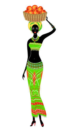 A slender African-American lady. A girl is carrying a basket on her head with apples. The woman is beautiful and young. Vector illustration.